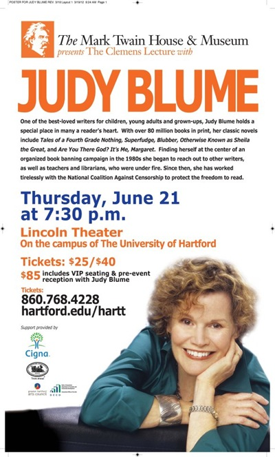 Judy Blume speaking at University of Hartford June 21
